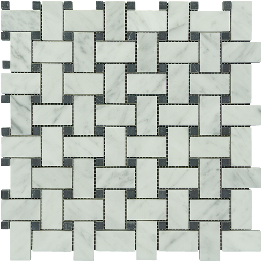 White Carrara Marble Mosaic - Basket Weave with Black Dots Polished