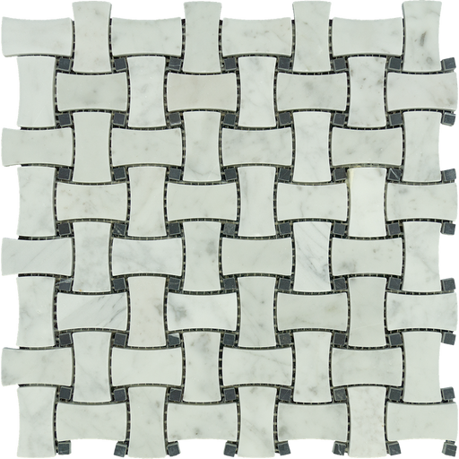 White Carrara Marble Mosaic - Dogbone Basket Weave with Black Dots Polished
