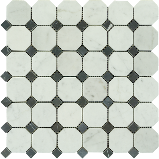 White Carrara Marble Mosaic - Octagon with Black Dots Polished