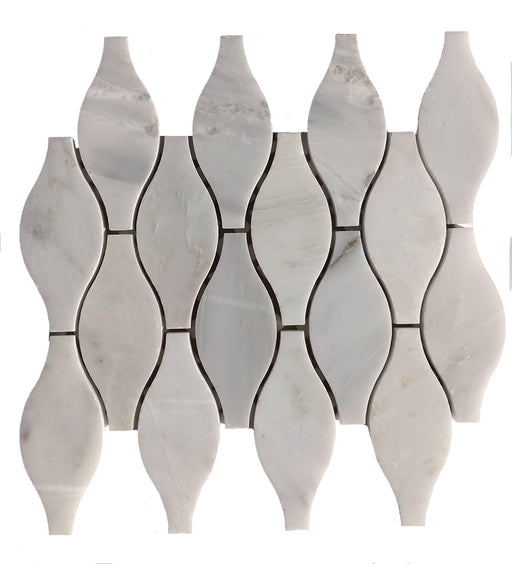 "White Carrara Marble Mosaic - 2"" x 5"" Vase Polished"
