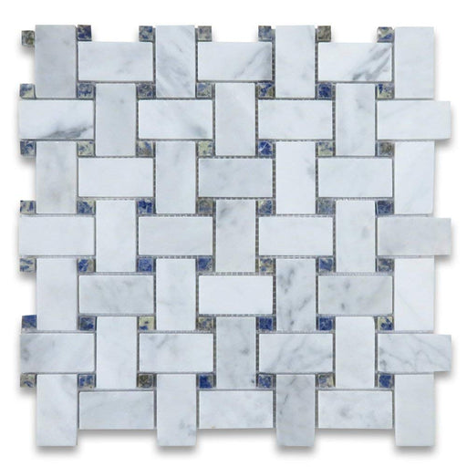 White Carrara Marble Mosaic - Basket Weave with Dark Blue Dots Polished