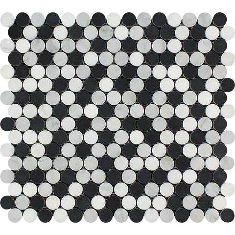 White Carrara Marble Mosaic - Penny Round with Black & Thassos Polished