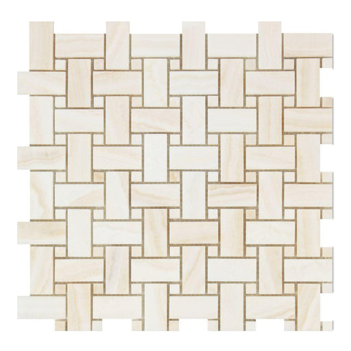 White Vein Cut Onyx Mosaic - Basket Weave with White Onyx Dots Polished