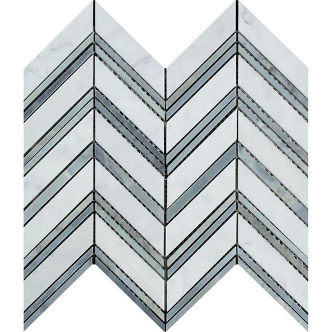 White Carrara Marble Mosaic - Large Chevron with Gray Honed
