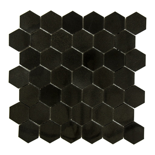 "Absolute Black Granite Mosaic - 2"" Hexagon Polished"