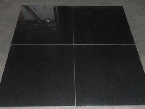"Polished Absolute Black Granite Tile - 18"" x 18"" x 1/2"""