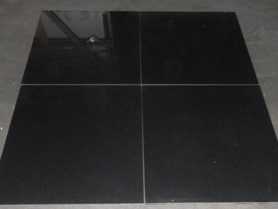 "Polished Absolute Black Granite Tile - 24"" x 24"" x 1/2"
