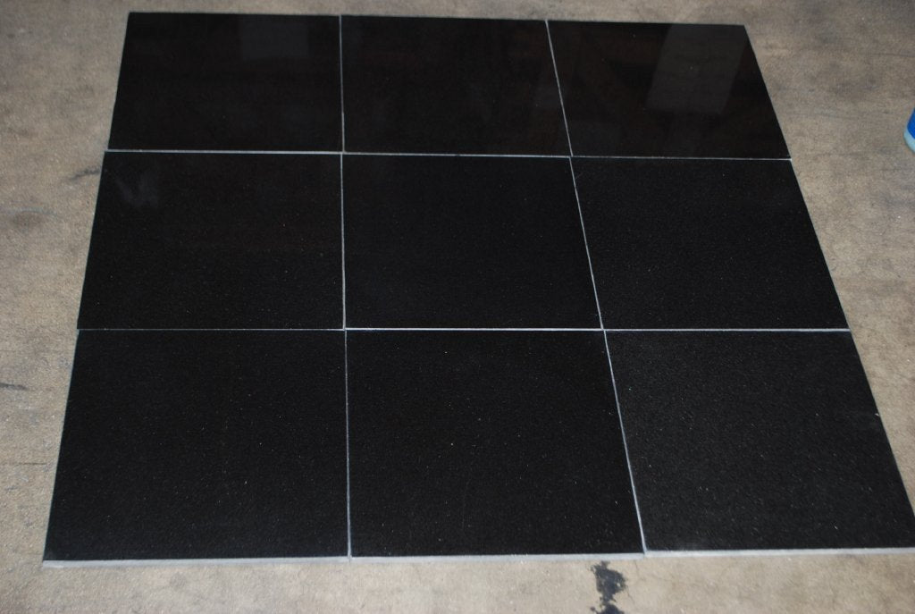 "Absolute Black Granite Tile - 12"" x 12"" x 3/8"""