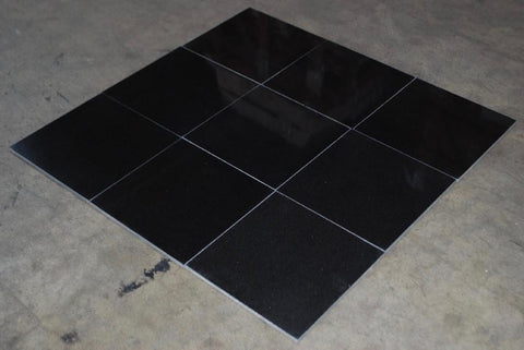 "Polished Absolute Black Granite Tile - 12"" x 12"" x 3/8"""