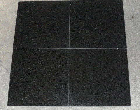 "Polished Absolute Black Standard Granite Tile - 18"" x 18"" x 1/2"""
