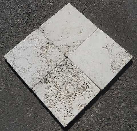 "Tumbled Alabastrino Travertine Tile - 8"" x 8"" x 5/8"""