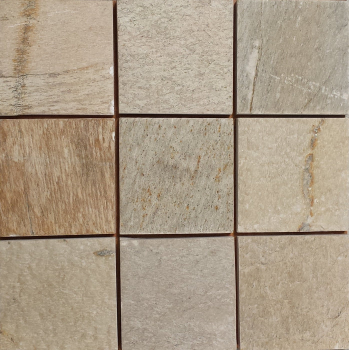 "Amber Gold Quartzite Tile - 16"" x 16"" x 2"" Natural Cleft Face, Gauged Back"