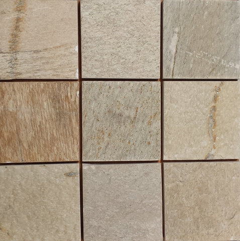 "Amber Gold Slate Tile - 12"" x 12"" x 1/2"" Natural Cleft Face, Gauged Back"