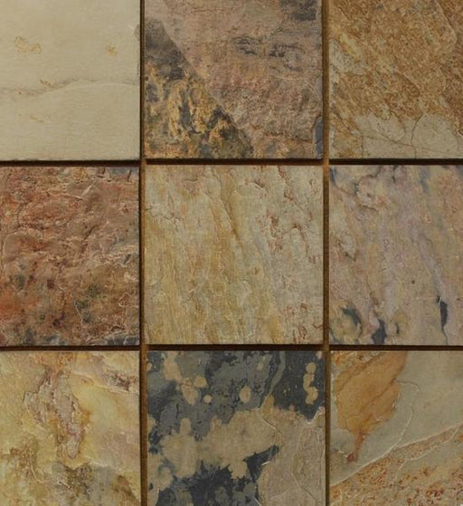 "Autumn Slate Tile - 12"" x 12"" x 3/8"" - 1/2"" Natural Cleft Face, Gauged Back"