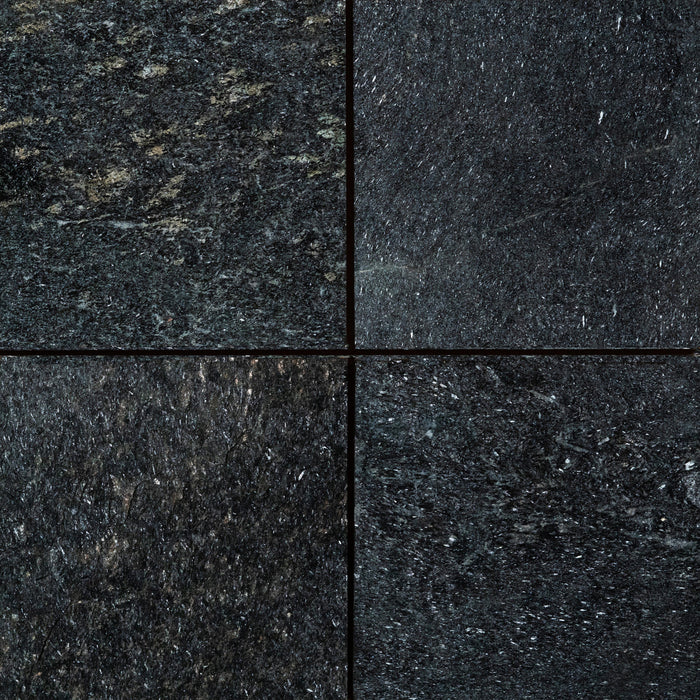 "Full Tile Sample - Black Obsidian Slate Tile - 12"" x 12"" x 3/8"" Flamed"