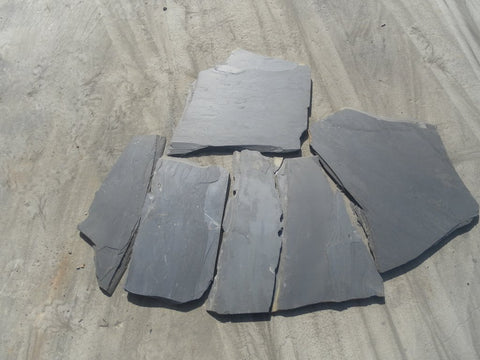 "Black Slate Slate Flagstone - Random Sizes x 3/4"" - 1"""