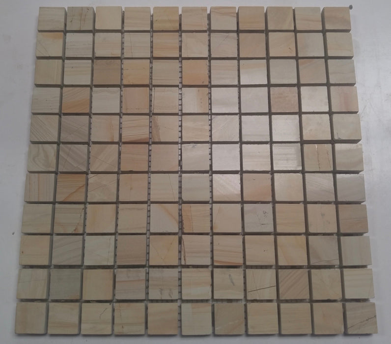 "Full Sheet Sample - Burma Teak Limestone Mosaic - 1"" x 1"" x 3/8"" Polished"