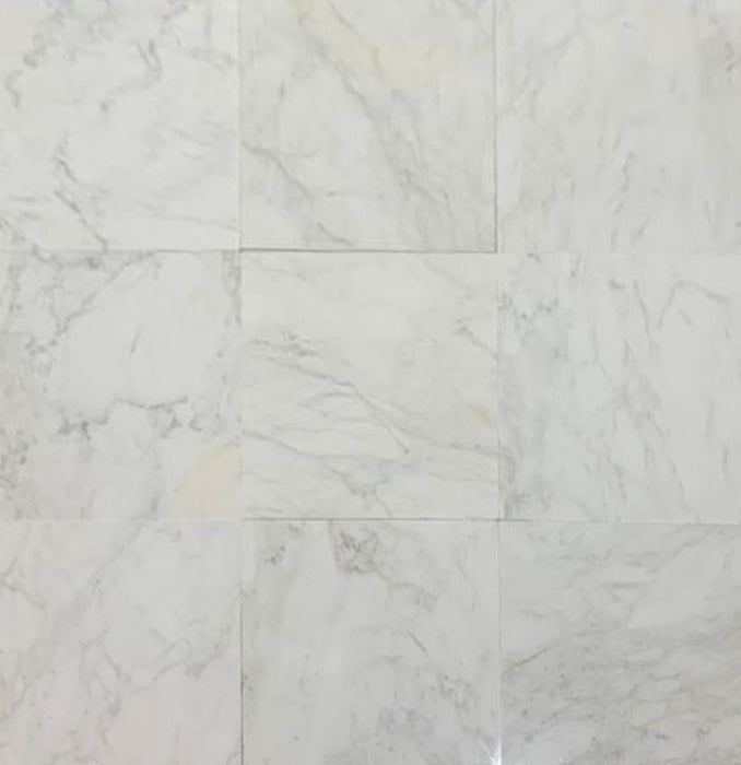 "Full Tile Sample - Calacatta Caldia Marble Tile - 18"" x 18"" x 3/8"" Honed"