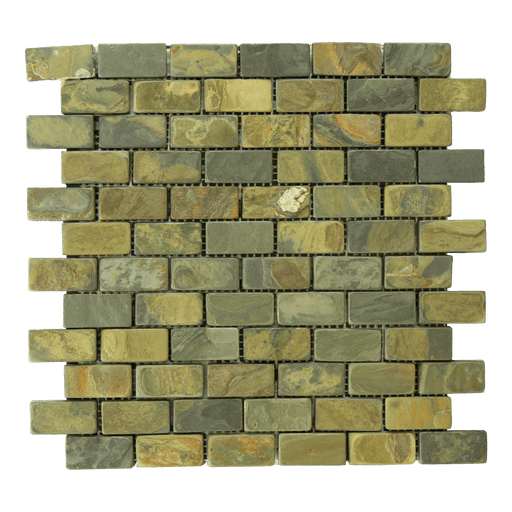 "California Gold Slate Mosaic - 1"" x 2"" Brick Tumbled"