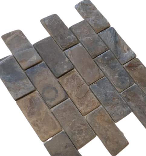 "California Gold Slate Mosaic - 2"" x 4"" Brick Tumbled"