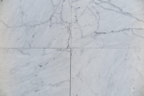 "Polished Carrara Venatino Marble Tile - 18"" x 18"" x 3/8"""