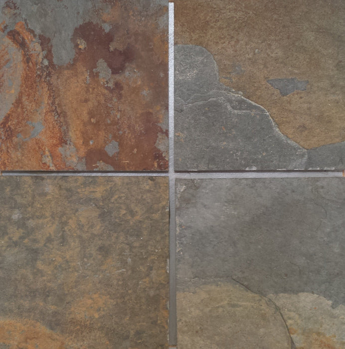 "China Multi Color Slate Tile - 16"" x 16"" x 3/8"" - 1/2"" Natural Cleft Face, Gauged Back"
