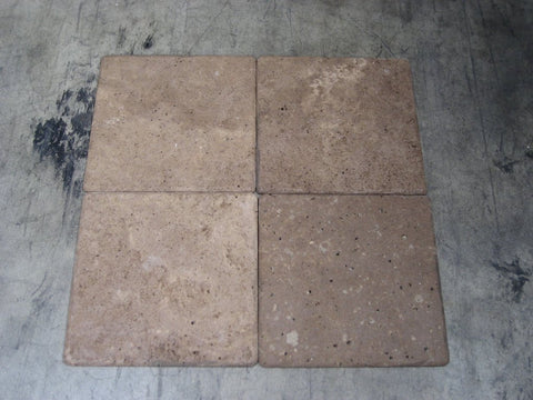 "Tumbled Chocolate (Noche) Travertine Tile - 4"" x 4"" x 3/8"""
