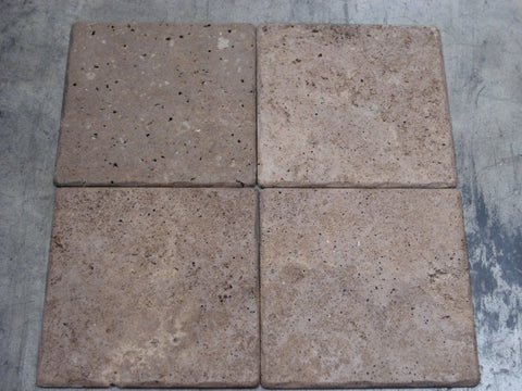 "Chocolate (Noche) Travertine Tile - 4"" x 4"" x 3/8"""