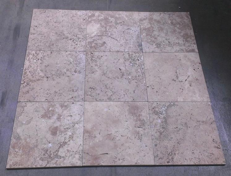 "Chocolate (Noche) Travertine Tile - 12"" x 12"" x 3/8"""