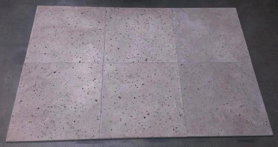 "Chocolate (Noche) Travertine Tile - 16"" x 16"" x 3/8"""