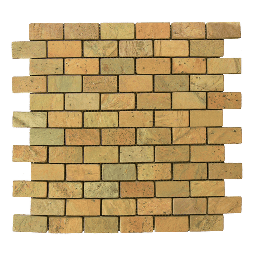 "Copper Slate Mosaic - 1"" x 2"" Brick Tumbled"