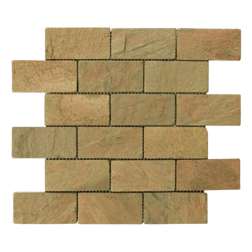 "Copper Slate Mosaic - 2"" x 4"" Brick Tumbled"