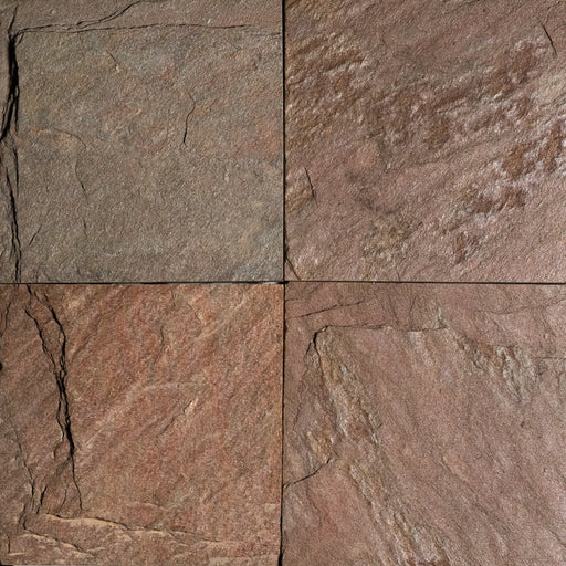 "Copper Slate Tile - 12"" x 12"" x 1/2"" - 3/4"" Natural Cleft Face & Back"