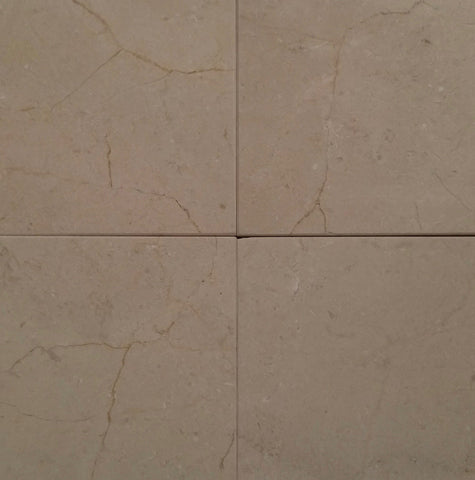 "Honed Crema Marfil Select Marble Tile - 24"" x 24"" x 3/8"""