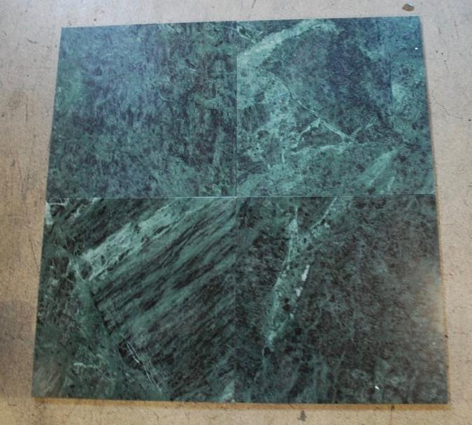 "Dark Green Marble Tile - 12"" x 12"" x 3/8"""