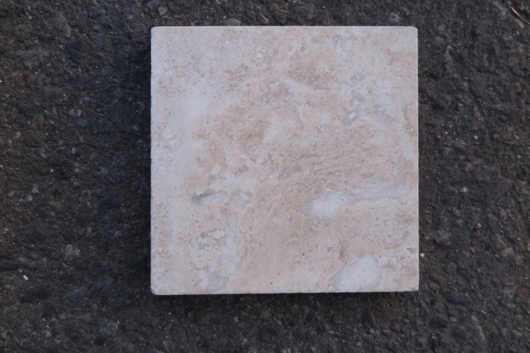 "Filled & Honed Durango Travertine Tile - 4"" x 4"" x 1/2"""