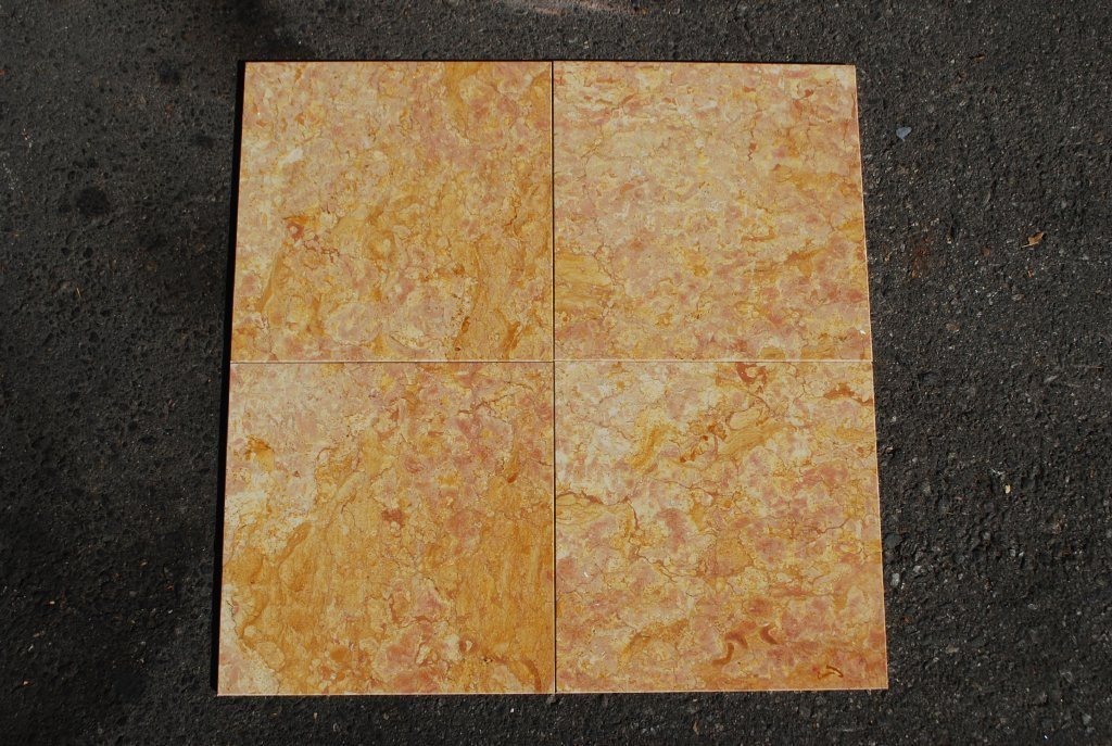 "Polished Giallo Reale Marble Tile - 12"" x 12"" x 3/8"""