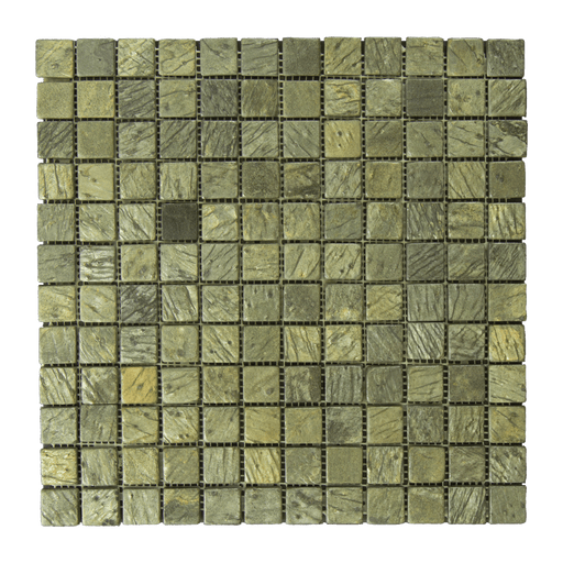 "Gold Green Slate Mosaic - 1"" x 1"" Tumbled"