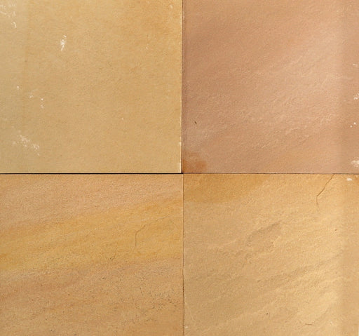 "Golden Buff Sandstone Tile - 12"" x 12"" x 3/8"" - 1/2"" Natural Cleft Face, Gauged Back"