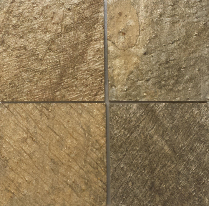 "Full Tile Sample - Gold Green Slate Tile - 16"" x 16"" x 1/2"" - 3/4"" Natural Cleft Face & Back"
