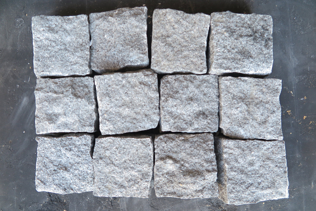 "Grey Granite Cobble - 4"" x 4"" x 2"" Natural Cleft Face & Back"