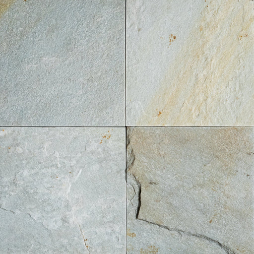 "Ice White Slate Tile - 12"" x 12"" x 3/8"" - 1/2"" Natural Cleft Face, Gauged Back"