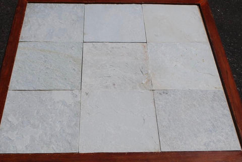 Natural Cleft Face, Gauged Back Ice White Slate Tile