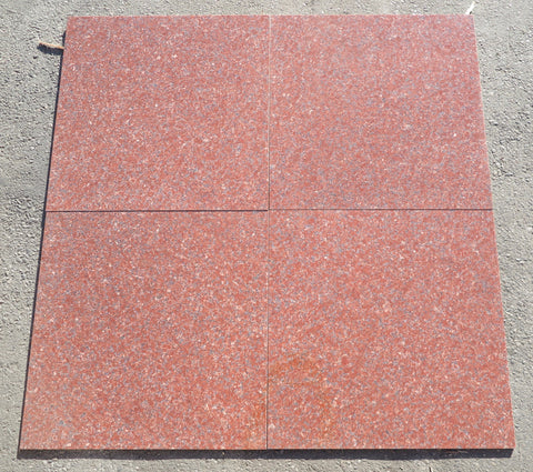 "Polished Imperial Red Granite Tile - 12"" x 12"" x 3/8"""