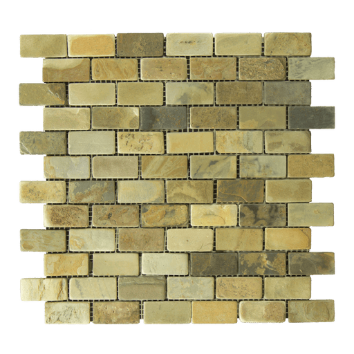 "Autumn Slate Mosaic - 1"" x 2"" Brick Tumbled"