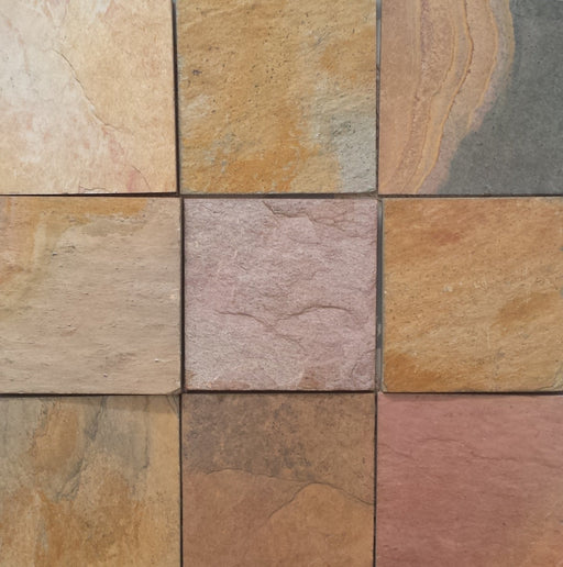 "Indian Sunrise Slate Flagstone - Random Sizes x 3/4"" - 1"" Natural Cleft Face & Back"