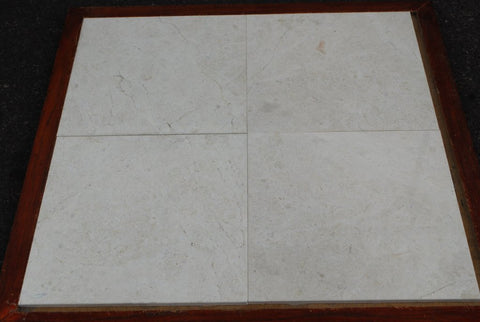 "Polished Ivory Cream Marble Tile - 16"" x 16"" x 1/2"""