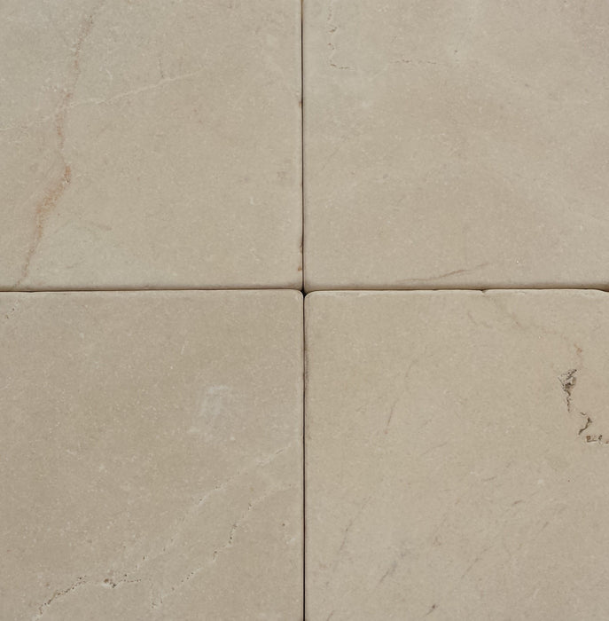 "Full Tile Sample - Ivory Cream Marble Tile - 4"" x 4"" x 1/2"" Tumbled"