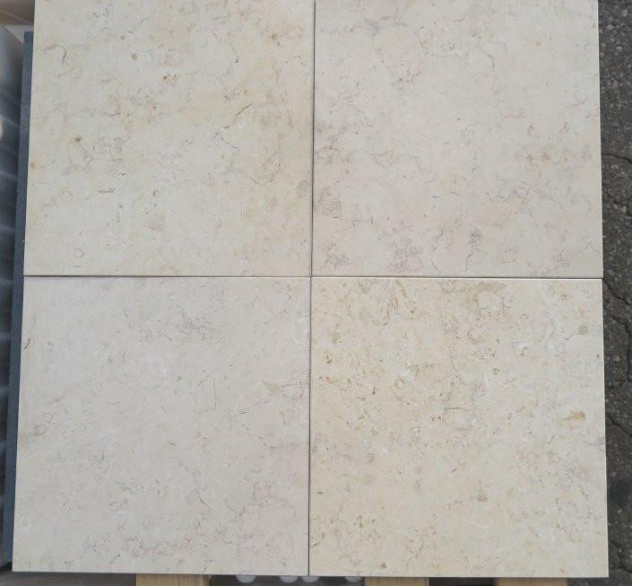 "Honed Jerusalem Gold Light Limestone Tile - 16"" x 16"" x 3/8"""