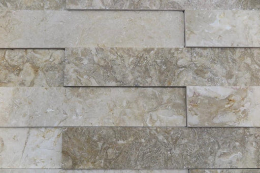 "Jerusalem Grey Gold Limestone Ledgestone - 2"" x 12"" x 5/8"" Stardust Brushed"